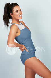 Ribbed Mesh Stripe Midkini Top - Ash Blue