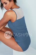 Ribbed Mesh Stripe Tankini - Ash Blue for Junior's and Women