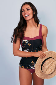 Sweetheart Ruched Tankini Top - Black Orchard Red Plum