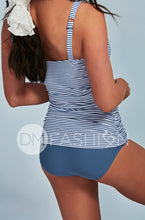 Ruched Square Tankini - Ash Blue Stripes