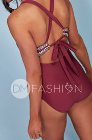 Ruched V Neck Embroidery One Piece - Red Plum - Restocked