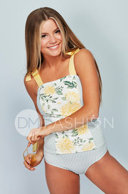 Panel Square Neck Tankini Top - Autumn Blossom Stripes