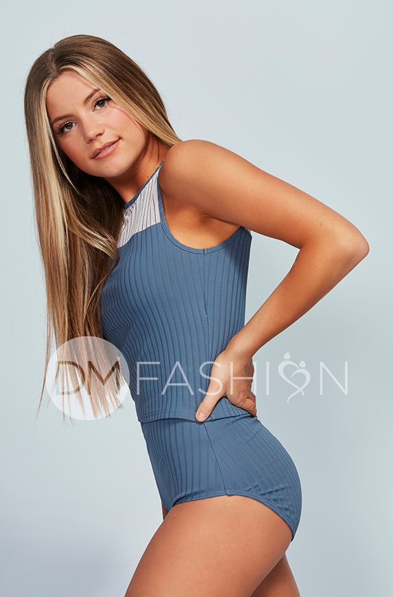 Ribbed Mesh Stripe Top - Ash Blue for Junior's and Women