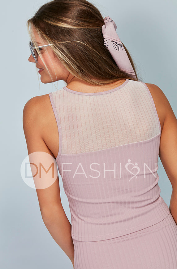 Ribbed Mesh Stripe Midkini Top - Mauve