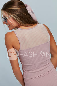 Ribbed Mesh Stripe Top - Mauve for Junior's and Women