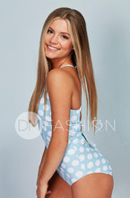 Lace Up One Piece - Maui Blue Dots