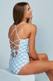 Lace Up One Piece - Maui Blue Dots - FINAL SALE