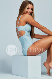 High Neck Square Back One Piece - Maui Blue - Restocked