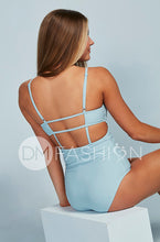 High Neck Square Back One Piece - Maui Blue