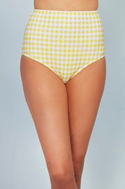 High Waist Bottom - Buttercup Yellow Gingham