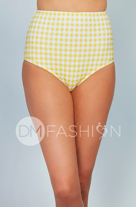 High Waisted Bottom - Buttercup Yellow Gingham