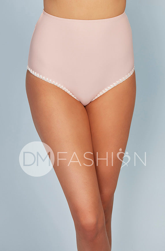 High Waist Bottom - Seashell Pink Embroidery