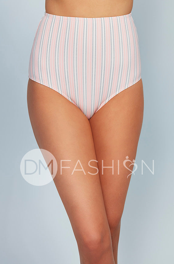 High Waisted Bottom - Seashell Pink Vertical Stripes