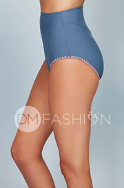 High Waisted Bottom - Ash Blue Embroidery