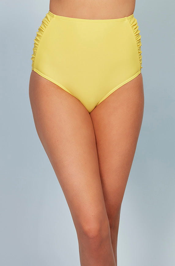 Ruched High Waisted Bottom - Buttercup Yellow