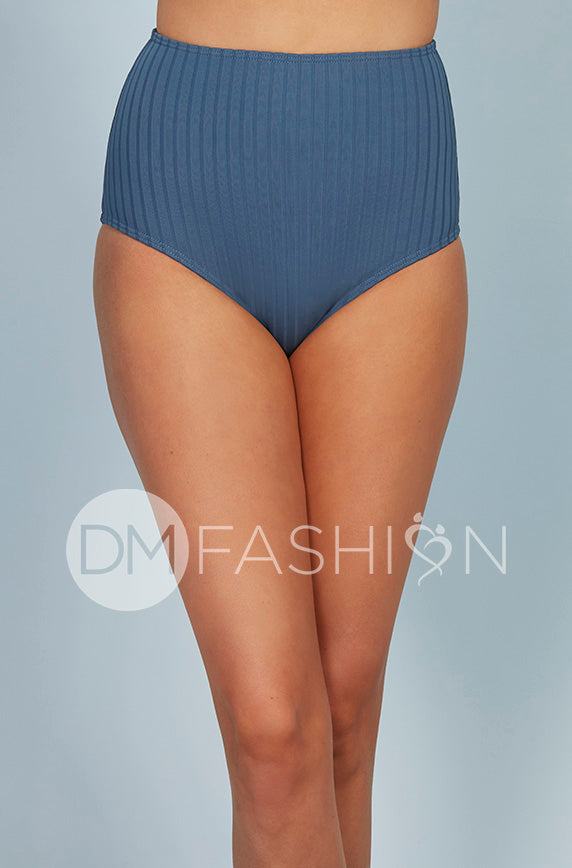 Ribbed High Waist Bottom - Ash Blue