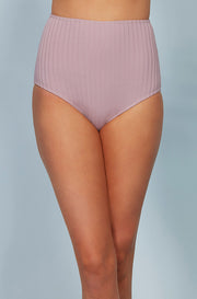 Ribbed High Waist Bottom - Mauve