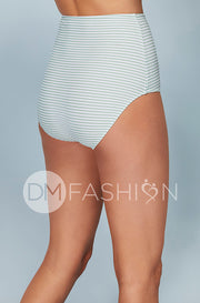 High Waist Bottom - Jasper Green Horizontal Stripes