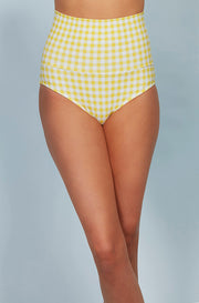 Banded Midrise Bottom - Buttercup Yellow Gingham