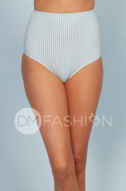 High Waist Bottom - Jasper Green Vertical Stripes