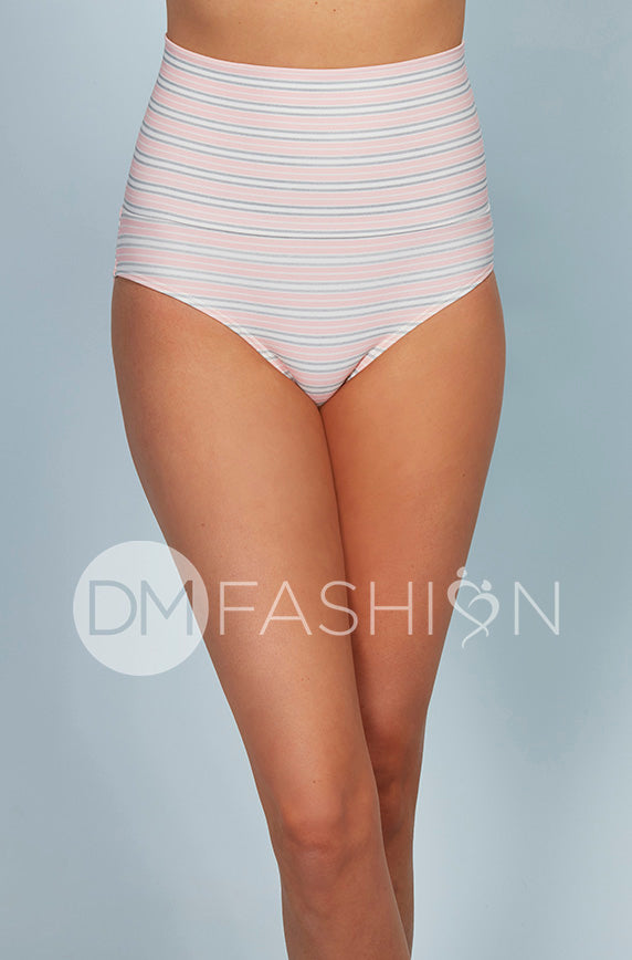 Banded Midrise Bottom - Seashell Pink Stripes- FINAL SALE