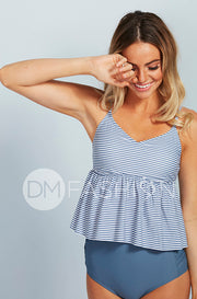V Peplum Tankini Top - Ash Blue Stripes