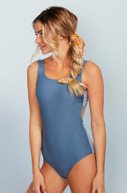 Scoop Neck Back Tie One Piece - Ash Blue Stripes - Restocked