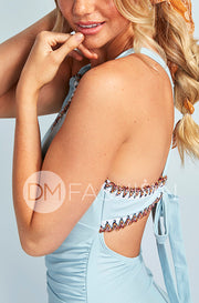 Ruched V Neck Embroidery One Piece - Maui Blue - Restocked