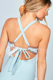 Ruched V Neck Embroidery One Piece - Maui Blue