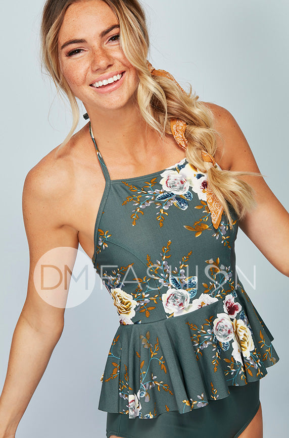 High Neck Peplum Halter Top - Jasper Green Orchard