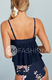 V Peplum Tankini Top - Navy