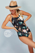 Lace Up One Piece - Retro Floral Dusty Pink Stripes