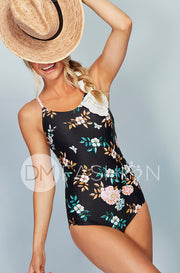 Lace Up One Piece - Retro Floral Dusty Pink Stripes - Restocked