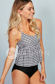 V Peplum Tankini Top - Black Gingham