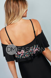 Off The Shoulder Ruffle One Piece - Black Embroidery Floral