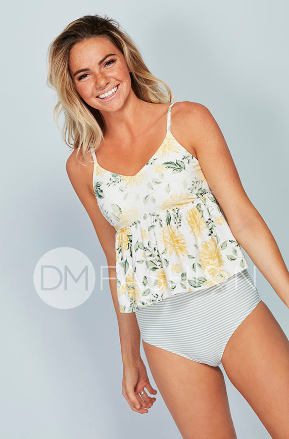 V Peplum Tankini Top - Autumn Blossoms