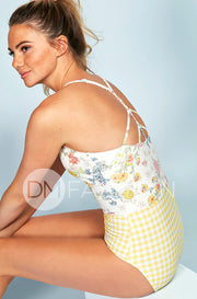 Sailor Back One Piece - Victorian Garden Yellow Gingham