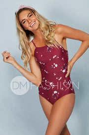High Neck Square Back One Piece - Red Plum Daisies
