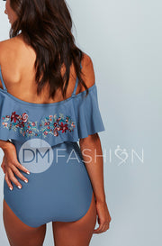 Off The Shoulder Ruffle One Piece - Ash Blue Embroidery Floral