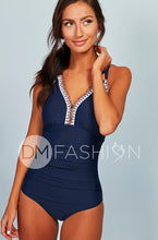 Ruched V Neck Embroidery One Piece - Navy