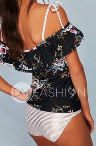 Off The Shoulder Double Ruffle Tankini Top - Black Orchard