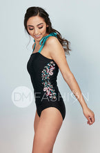 Panel Square Neck Tankini Top - Black Embroidery