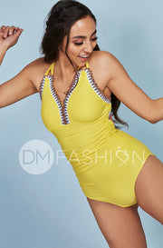 Ruched V Neck Embroidery One Piece - Buttercup Yellow - Restocked