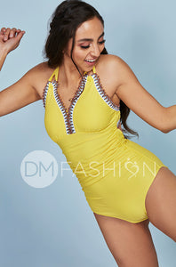 Ruched V Neck Embroidery One Piece - Buttercup Yellow
