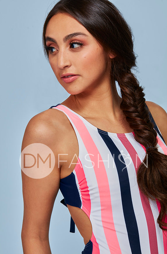 Scoop Neck Back Tie One Piece - Glow Stripe