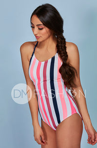 Lace Up One Piece - Glow Stripe