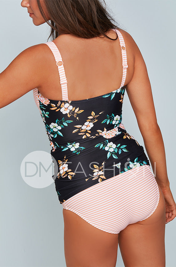 Sweetheart Ruched Tankini Top - Retro Floral Stripes