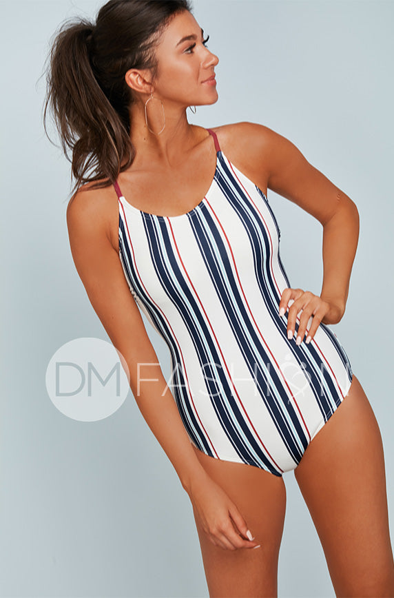 Lace Up One Piece - American Stripes - FINAL SALE