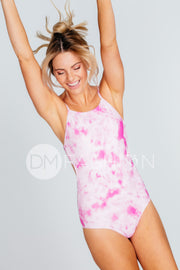 High Neck Square Back One Piece - Hot Pink Tie Dye
