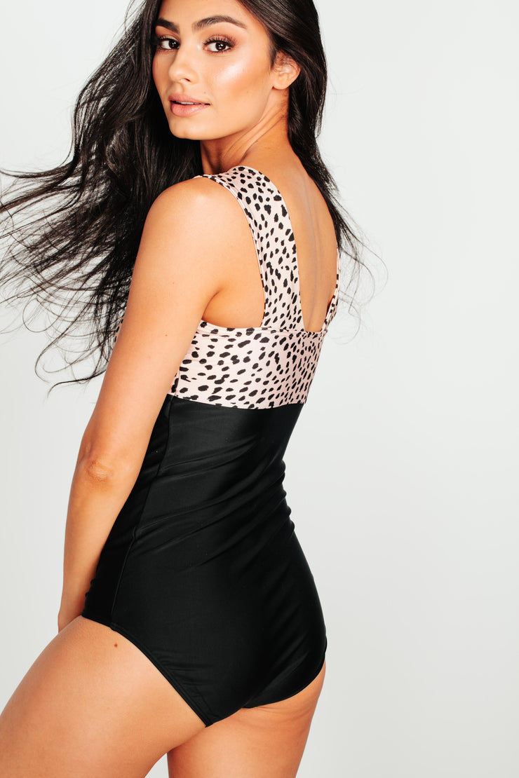 Square Neck Color Block One Piece - Black Leopard